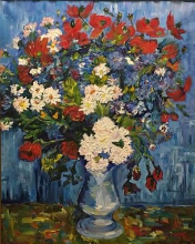 Vase with Corn Flowers and Poppies